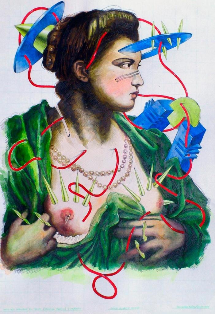 La dama que descubre el pecho. Acuarela, acrílico y grafito s/papel. 50x35. 2012