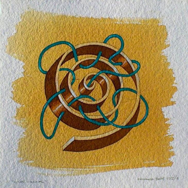 Minos espiral. Acuarela y acrílico s/papel. 22x22. 2013