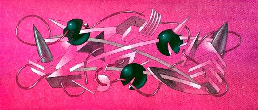 Tres esferas sonrientes. Acuarela y acrílico s/papel. 50x20. 2013