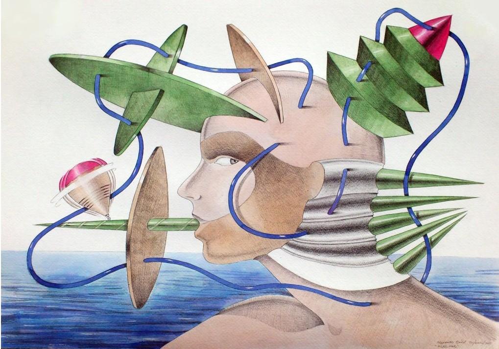 Mujer Mar. Acuarela y grafito s/papel. 50x35. 2012
