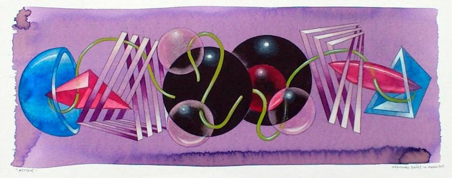 Esferas. Acuarela y acrílico s/papel. 50x20. 2013