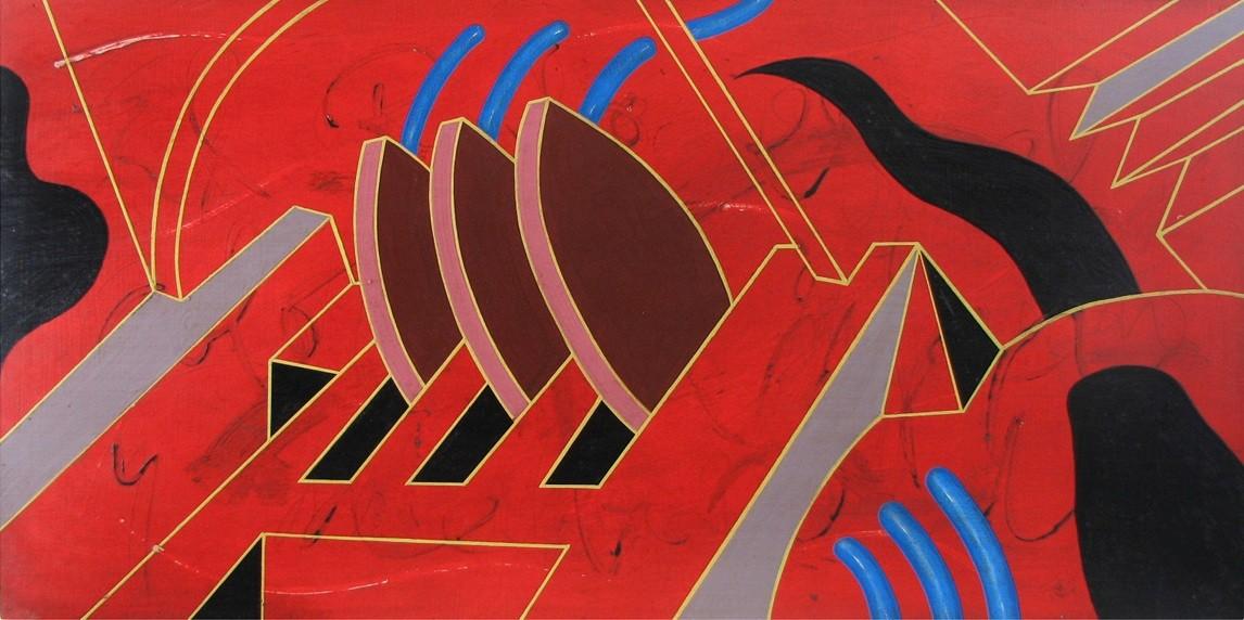 Ciudad Roja. Mixta y esmalte s/tabla. 120x60. 2011