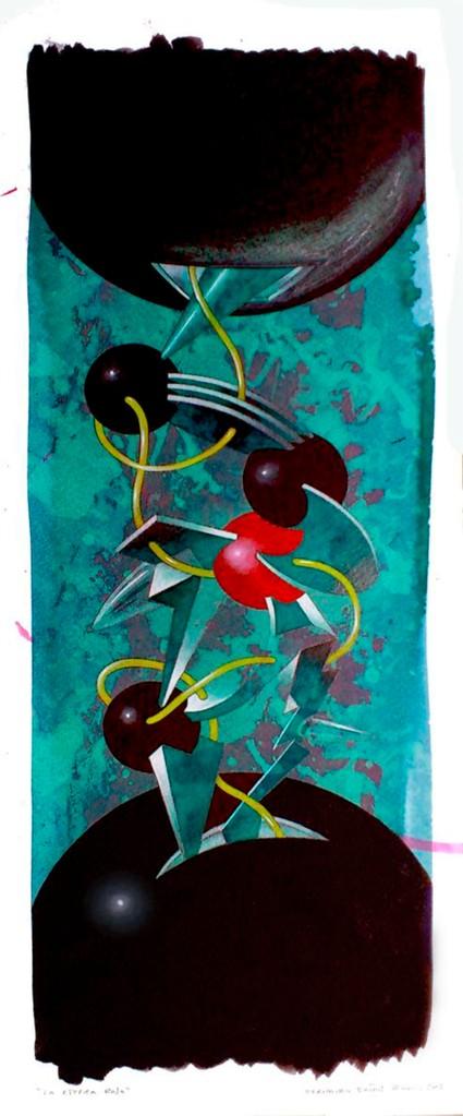 La esfera roja. Acuarela y acrílico s/papel. 50x20. 2013