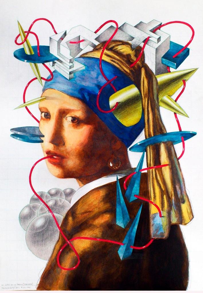 La joven de la perla. Acuarela y grafito s/papel. 50x70. 2012