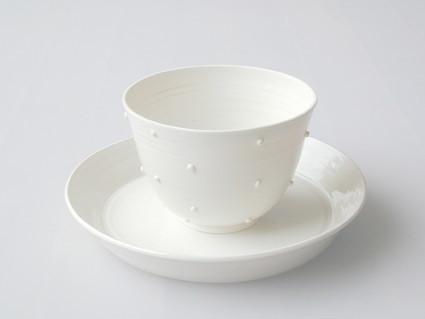 Tupfenschale und Teller, Porzellan