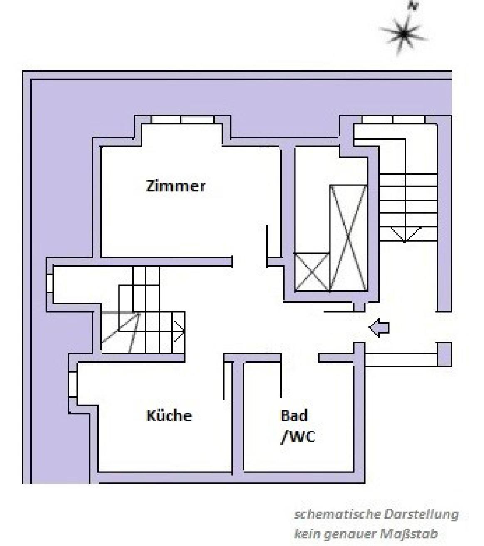 Skizze I untere Etage Dachgeschoss Maisonette