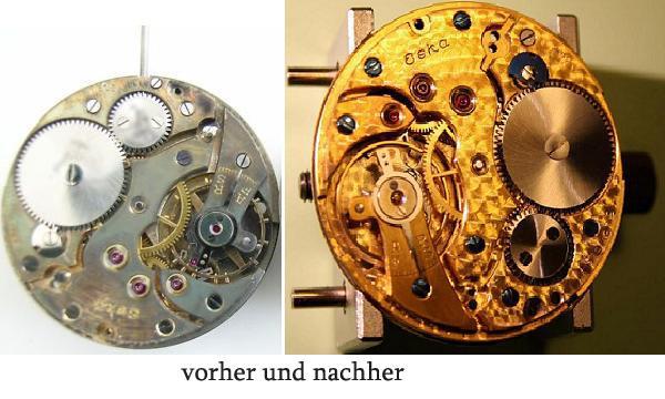 altes Taschenuhrwerk vor und nach der Veredelung