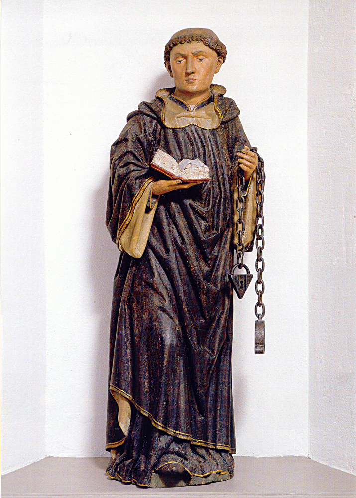 The sculpture of St Leonhard (dated around 1500) (Sankt Leonhard)