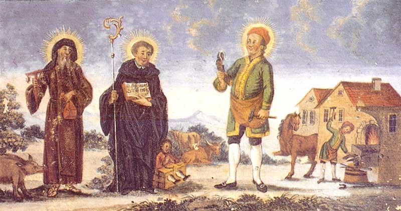 Fresque représentant St. Léonhard entre Saint Antoine l'ermite et Saint Elige (Aussenfresko über Nordeingang)