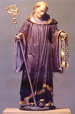 Sculpture of St.Leonard with cross and chain (Leonhardsfigur über Nordeingang)