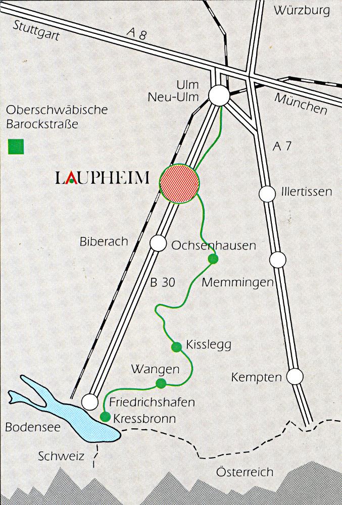Laupheim sur la carte (Karte Laupheim)
