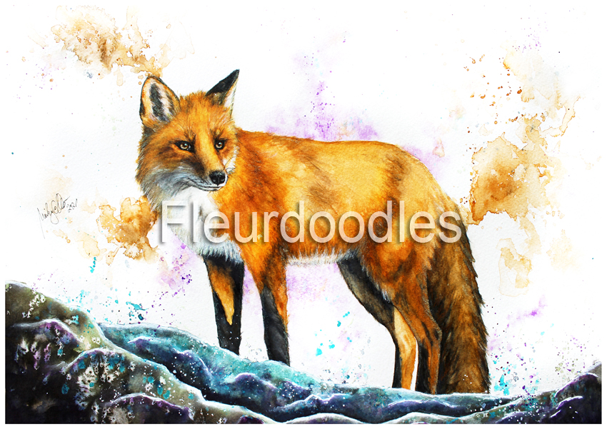 Fuchs in Aquarell, ca. 30 x 40 cm, #129