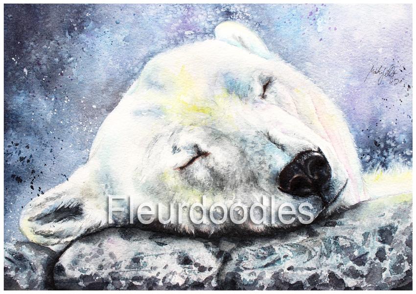 Eisbär in Aquarell, ca. 21 x 30 cm, #114