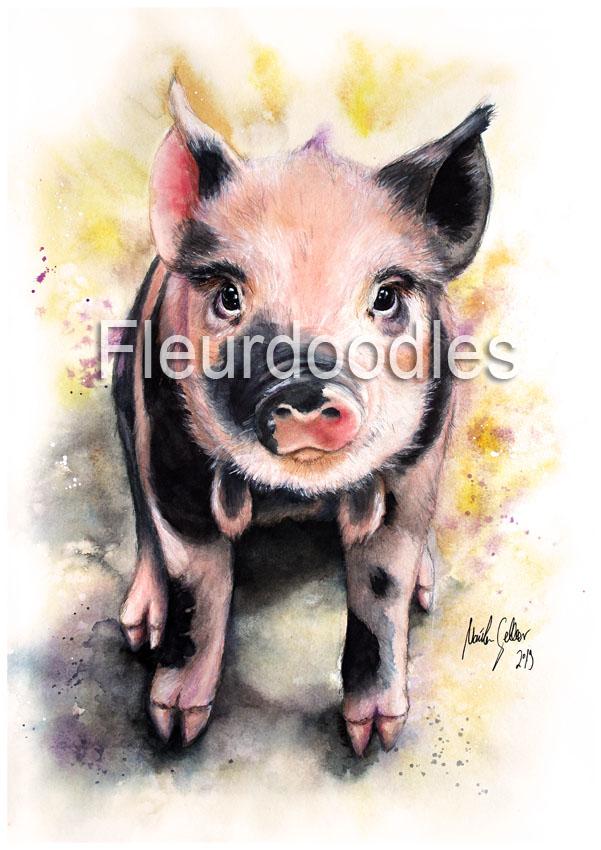 Glücksschweinchen, Aquarell ca. 30 x 42 cm, #62