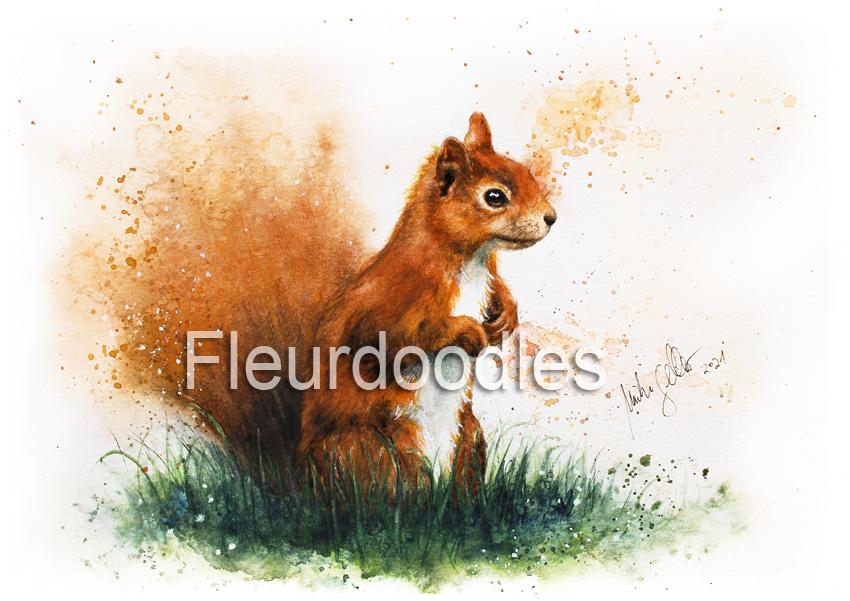 Eichhörnchen in Aquarell, ca. 19 x 24 cm, #124