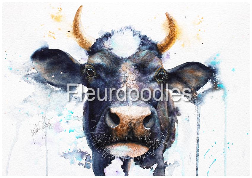 Kuh in Aquarell, ca. 21 x 30 cm