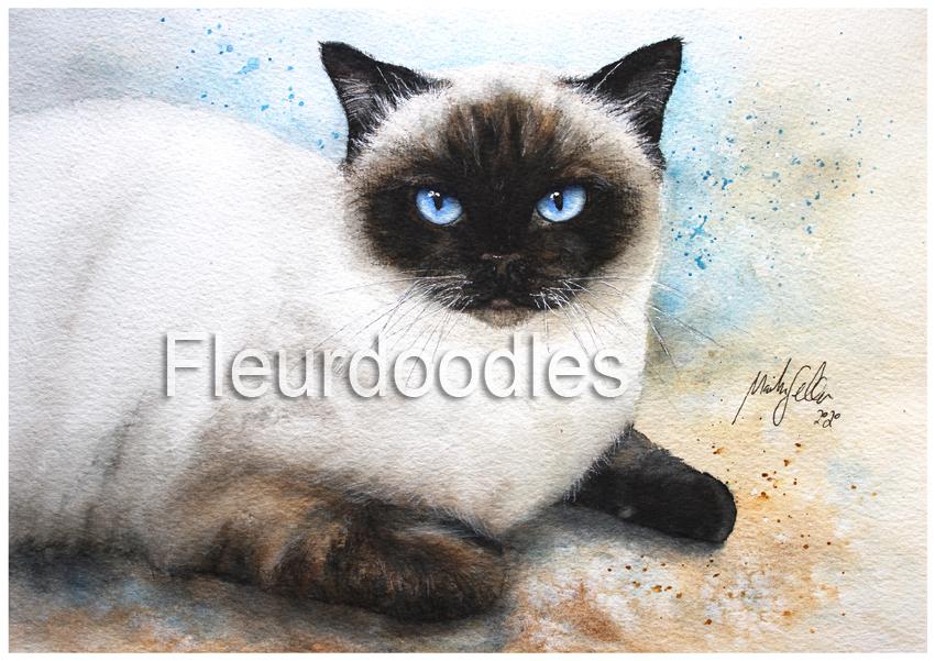 Katze in Aquarell, ca. 21 x 30 cm