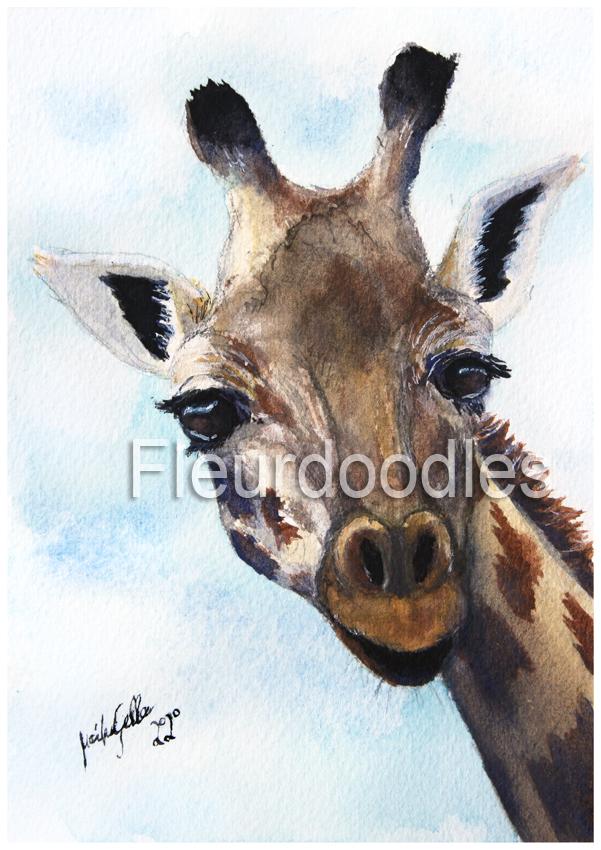 Giraffe in Aquarell, ca. 10,5 x 15 cm