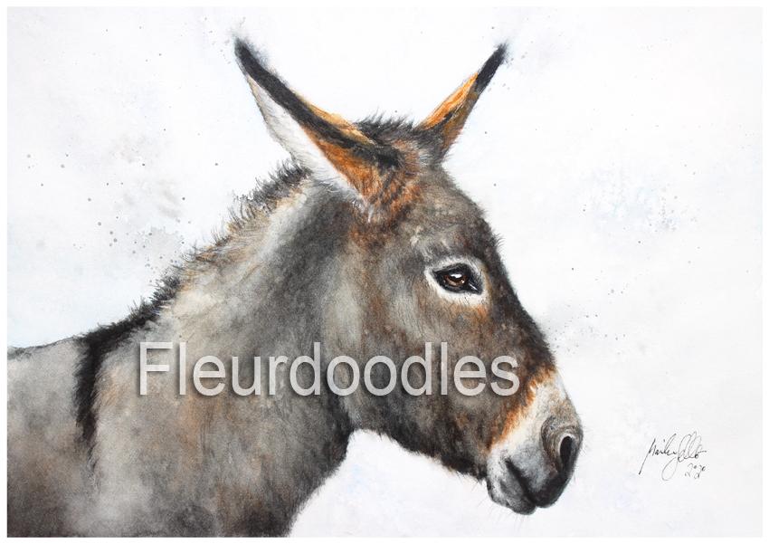 Esel in Aquarell, ca. 15 x21 cm, #109