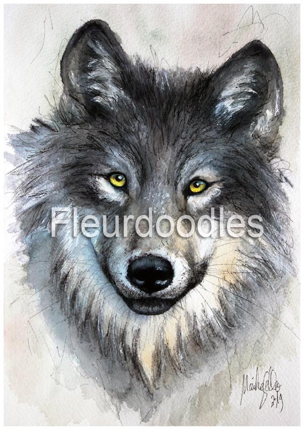 Wolf in Aquarell, ca. 15 x 25 cm, #64