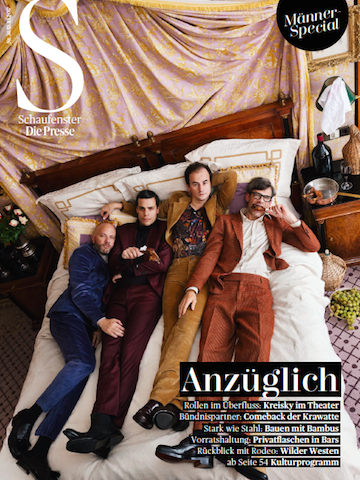"""schimpfen & spielen"" for presse schaufenster  - production: barbara zach - photography: katsey - styling: max maerzinger - set design: markus jagersberger - grooming: anie lamm-siu - talents: band kreisky"