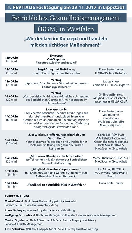 Revitalis-Fachtagung am 29.11.2017 – Programmablauf