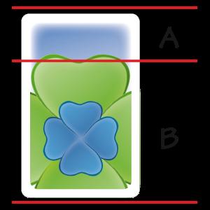 Afbeelding 1: A = het veld, B= de klaver
