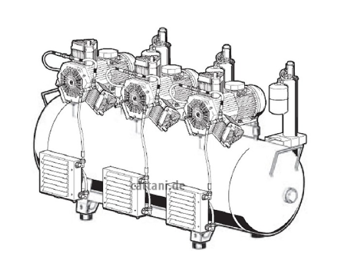 Cattani - 3-Zylinder-Tridem-Kompressor mit Schallschutzhaube