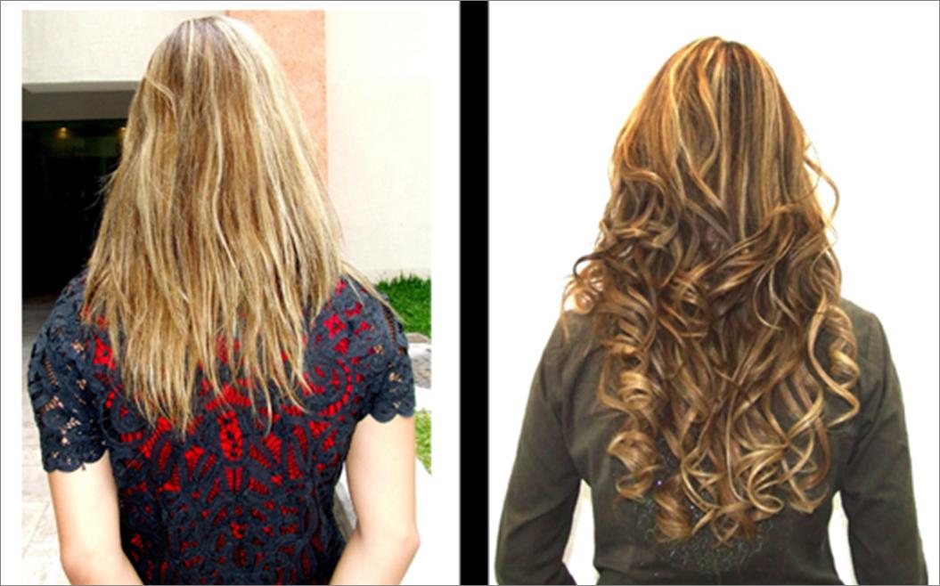 Increíble antes y después de extensiones y efecto de color