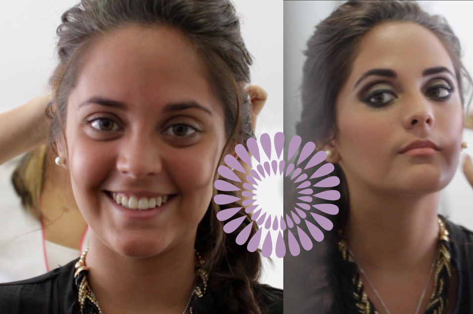 Novia Antes y después del maquillaje