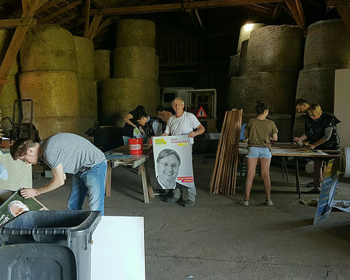 Wahlkreis 223 beim Plakate kleben für unseren Bundestagskandidaten Fritz Haugg