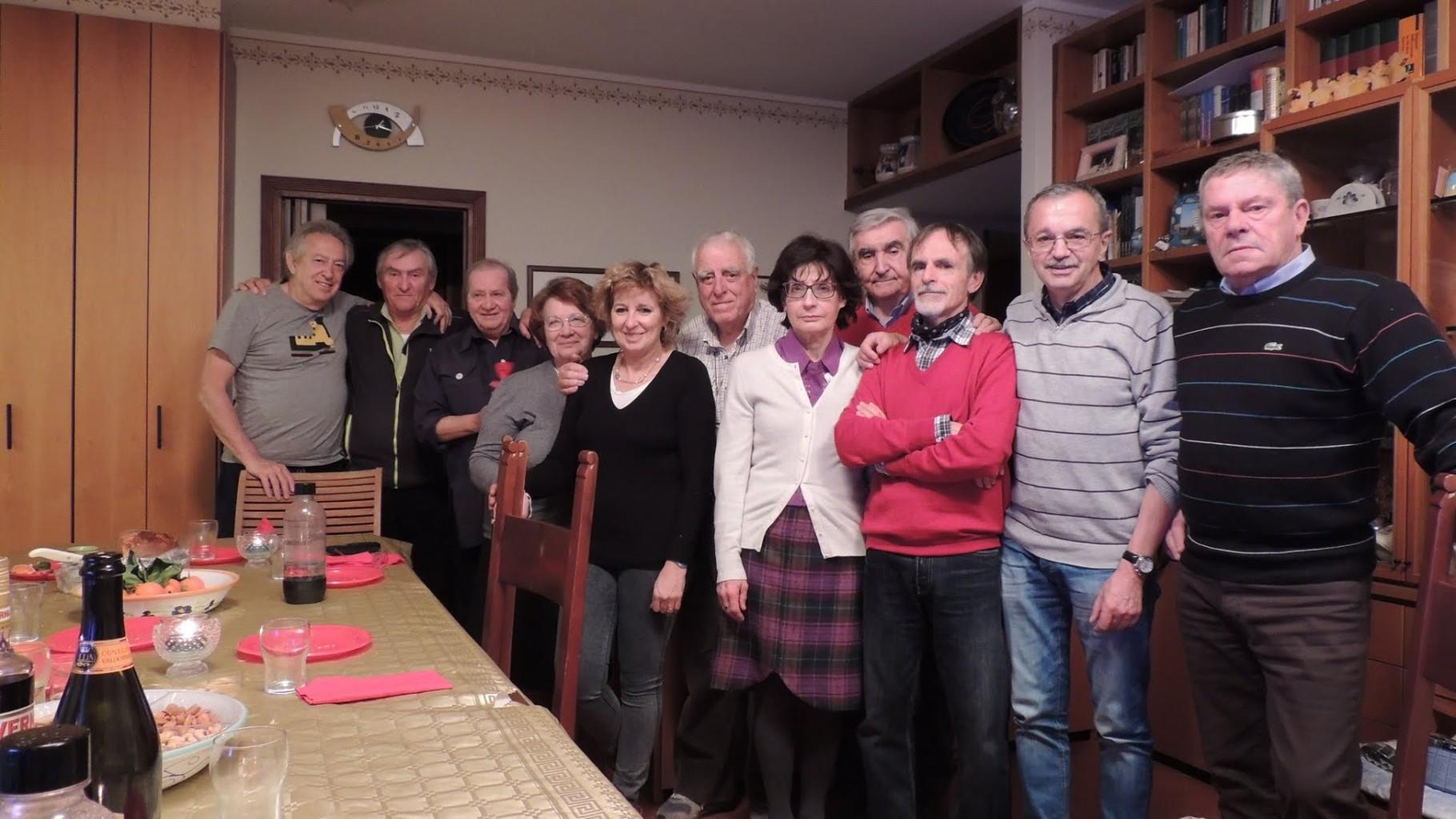 Foto di gruppo, da sinistra: Gabrio, Piero, Flavia, Norma, Flavia, Gianni P. Carla, Roberto, Vittorio, Gianni baffo e Giorgio