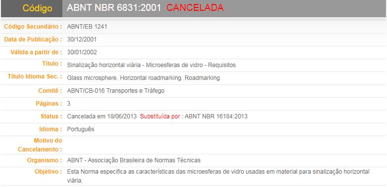 ABNT NBR 6831:2001   CANCELADA(Sinalização horizontal viária - Microesferas de vidro - Requisitos)