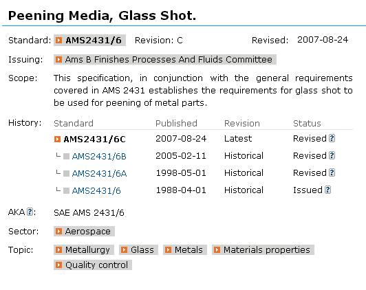 Glass beads AMS2431/6C