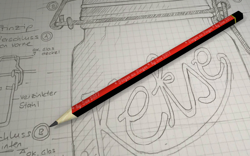 Bleistift 3D und Handskizze
