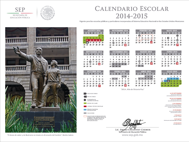 Calendario Escolar 2014 - 2015.  Fuente:http://www.sep.gob.mx/es/sep1/Calendario_2014_2015