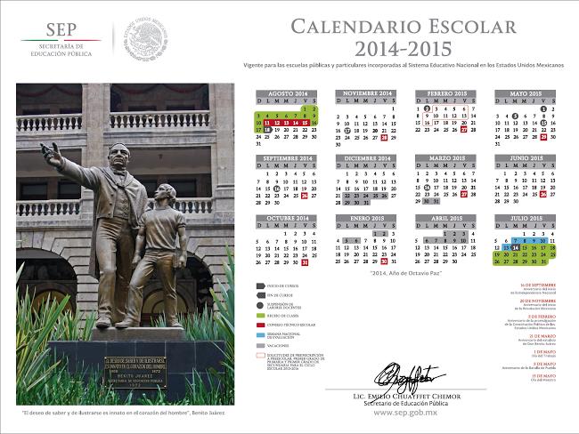 Calendario Escolar 2014 - 2015.  Fuente:http://www.sep.gob.mx/es/sep1/Calendario_2014_2015