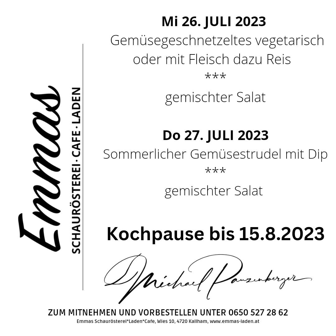 Vegetarisches MENÜ AM MITTWOCH in Emmas Laden