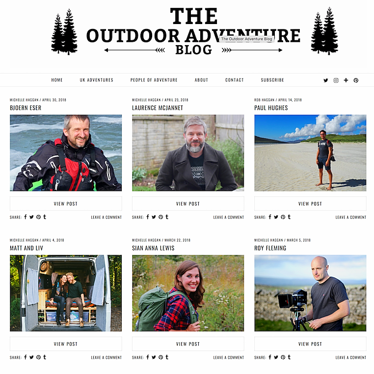 Honoured to be featured as Person of Adventure on The Outdoor Adventure Blog
