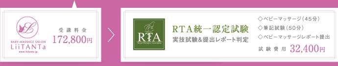 受講料金172,800円 RTA統一認定試験費用32,400円