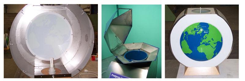 Fabrication de bornes PLV installées en boutiques - récupération de flacons - création DEFI INDUSTRIES