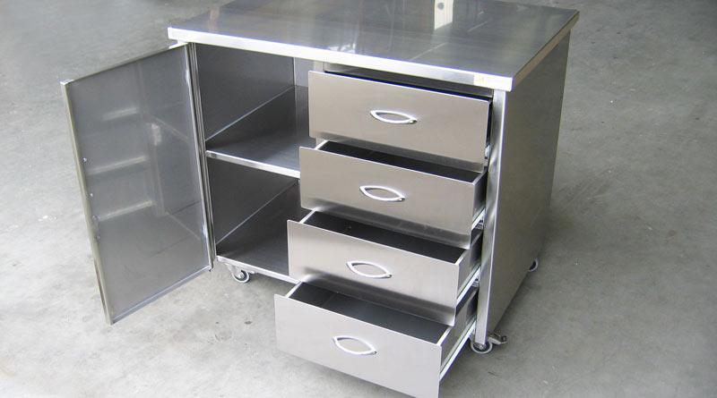 meuble bas en inox avec tiroirs