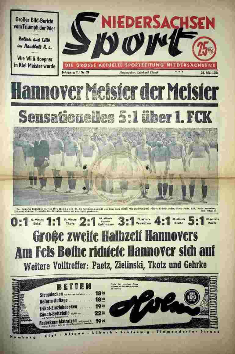 1954 Mai 24. Niedersachsen Sport Nr.21