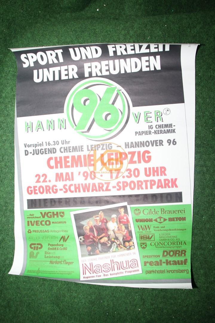 Spielplakat Chemie Leipzig gegen Hannover 96 am 22. Mai 1990. Das letzte Spiel der alten BSG in Leutzsch.