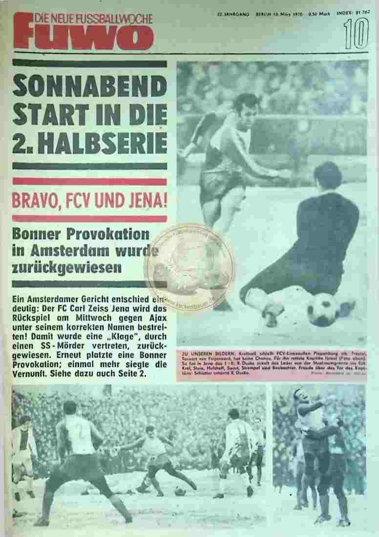 1970 März 10. Die neue Fussballwoche fuwo Nr. 10
