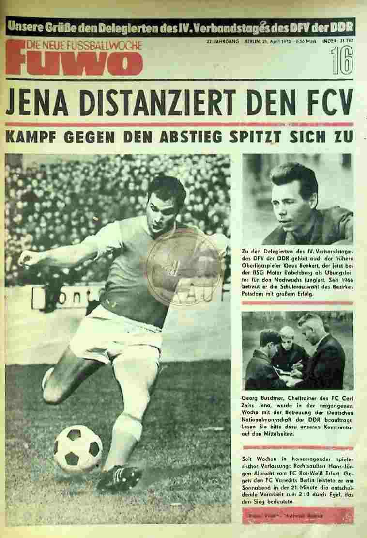 1970 April 21. Die neue Fussballwoche fuwo Nr. 16