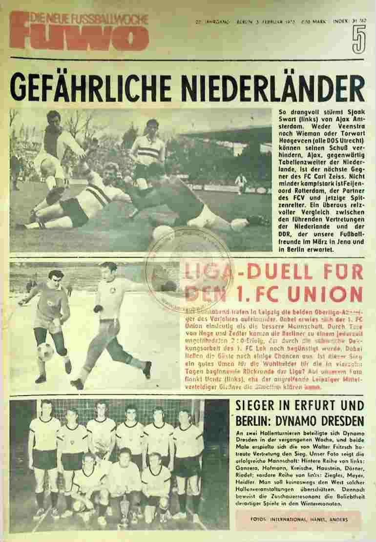 1970 Februar 3. Die neue Fussballwoche fuwo Nr. 5