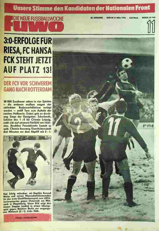 1970 März 17. Die neue Fussballwoche fuwo Nr. 11