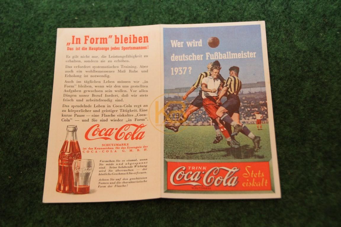 Werbespielplan zur Meisterschaftsendrunde 1937 von Coca Cola. 1/2