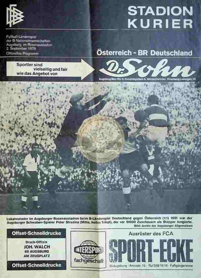 1975 September 2. Stadion Kurier Österreoich - BR Deutschland
